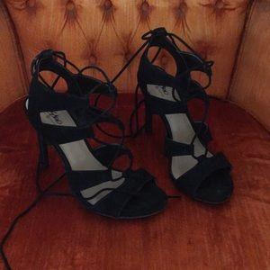Mossimo Target 8 Black strappy Heels Stiletto Tie